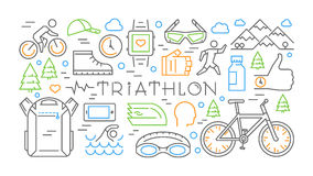 Colored horizontal line banner triathlon. Vector sport concept. Vector label for t-shirts Royalty Free Stock Image