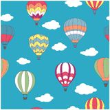 Colored hot air balloons seamless pattern Stock Photo