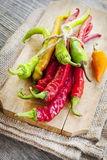 Colored hot chilli peppers on wooden chopper Royalty Free Stock Photos