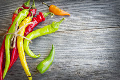 Colored hot chilli peppers on wooden textured background Stock Photos
