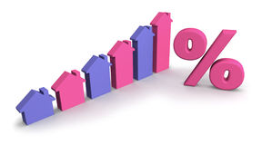 Colored House Graph. Colored house-shaped bar graph with percent symbol Stock Images