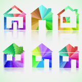Colored house icons with reflection. eps10 vector. Set of colored house icons Stock Image