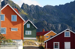 Colored houses. Colored wooden houses, north Norway Royalty Free Stock Images
