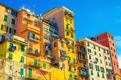 Colored houses with blue sky on the background Stock Photo