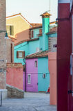 Colored houses on Burano island of Venice Stock Photography
