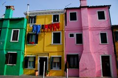 Colored houses in Burano in Venice in Italy Stock Images