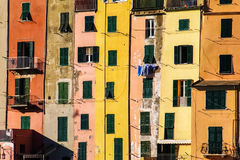 Colored houses. The coloured houses on the promenade of Portovenere, a small village in Liguria (north of Italy), closely resemble a palette Royalty Free Stock Photography