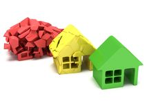 Colored houses. 3d render. Royalty Free Stock Images