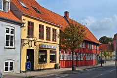 Colored houses in Denmark Royalty Free Stock Images