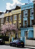 Colored houses in London street royalty free stock image