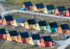 Colored houses in Longyearbyen, Svalbard, seen from above royalty free stock photos