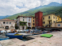 Colored houses on the marina of the town of Malcesine, lake Garda, Italy Royalty Free Stock Image