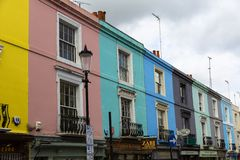 Colored houses in Notting Hill London royalty free stock images