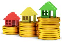 Colored houses one stack of coins. 3d render. Stock Images
