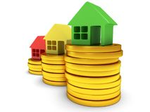 Colored houses one stack of coins. 3d render. Royalty Free Stock Photos
