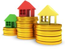 Colored houses one stack of coins. 3d render. Stock Image