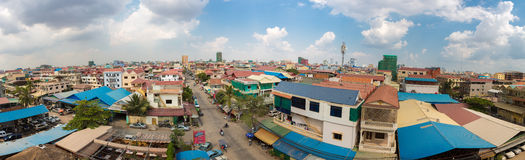 Colored houses and residential district in Phnom Penh, Cambodia Royalty Free Stock Photography