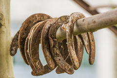Colored houses. Rusty horseshoes accumulated over time Royalty Free Stock Image