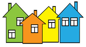 Colored houses set Stock Image