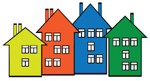 Colored houses set on white background Stock Photography