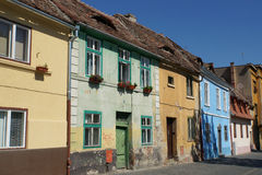 Colored houses in Sibiu, Transylvania. Beautiful cityscape with colored houses in Sibiu, Transylvania, Romania Royalty Free Stock Photography