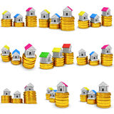 Colored houses on stack of coins set. 3d render. Royalty Free Stock Image