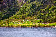 The colored houses in traditional norwegian village Stock Photo