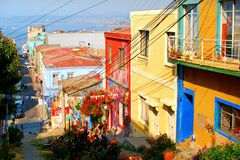 Colored houses in Valparaiso. Colored houses line a street of Chile's town of Valparaiso Stock Photo