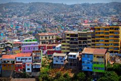Colored houses in Valparaiso. Colored houses in Chile's town of Valparaiso Stock Images