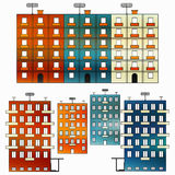 Colored houses on a white background collection of symbols Royalty Free Stock Photo