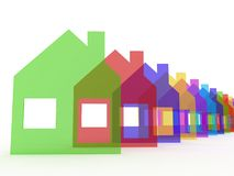 Colored houses  on white background, 3D Stock Photography