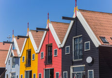 Colored houses of Zoutkamp Stock Images