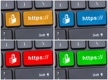 Colored https buttons on modern keyboard Royalty Free Stock Photography