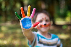 Colored human arm. Of boy on a children's party Stock Photos