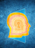Colored human head with keyhole and door Royalty Free Stock Images