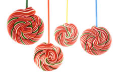 Colored hung lollipops Stock Photography