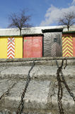 Colored huts. In Neuchâtel, Switzerland Royalty Free Stock Image