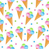 Colored ice cream seamless texture. Balls ice cream cone background. Baby, Kids wallpaper and textiles. Vector illustration Royalty Free Stock Images