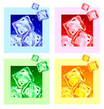 Colored ice cubes. Set Colored ice cubes for drinks. Vector illustration Royalty Free Stock Photography