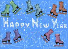 Colored ice rink, many pairs of skates, snowflakes and confetti,. Christmas background, vector hand drawing illustration festive card, doodle, cartoon style Royalty Free Stock Images