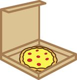 Colored icon box of pizza with tomatoes and cheese. For websites or applications stock illustration