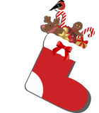 Colored icon Christmas sock with gifts inside. Template for decoration and design. Vector illustration Royalty Free Stock Images