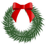 Colored icon Christmas wreath with red bow on white background. Royalty Free Stock Image