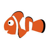 Colored icon cute baby clown fish in cartoon style Royalty Free Stock Photos