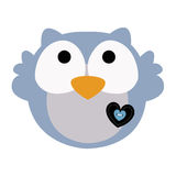 Colored icon cute baby owl in cartoon style on white background. Stock Photos