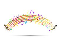 Colored icon with musical notation. For the product design or web industry royalty free illustration