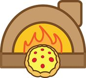 Colored icon pizza with tomatoes, cheese and oven. For websites or applications vector illustration