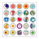 Colored Icon Set 1 - Version1. 25 different colored icons in a circle shaped buttons Stock Image