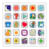 Colored Icon Set 1 - Version2. 25 different colored icons in a square shaped buttons Royalty Free Stock Images
