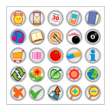 Colored Icon Set 2 - Version1. 25 different colored icons in a circle shaped buttons Stock Photos